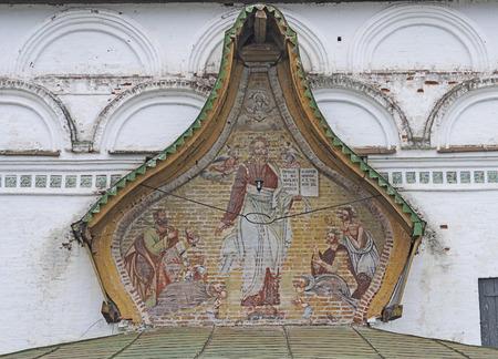 fresco: Big fresco on the eastern facade of the temple Demetrios in Dymkovo village, Veliky Ustyug, North Russia