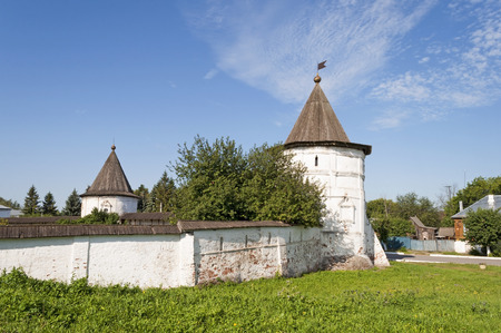 ramparts: Corner tower and part of the ramparts of Monastery of Archangel Michael in Yuriev-Polsky, Russia