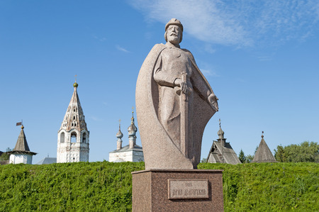 founder: The monument to Russian prince Yuri Dolgoruky, the founder of the city Yuriev-Polsky, Russia