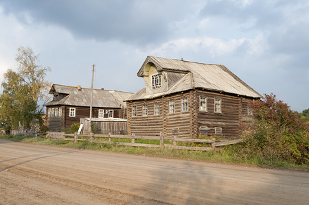 Old wooden houses in northern russian village