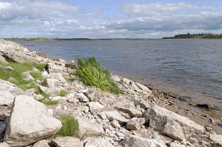 Rocky shore of the river Vychegda in Solvychegodsk, Russia Stock Photo
