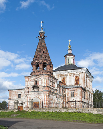 View of Spasoobydennaya church in Solvychegodsk, North Russia