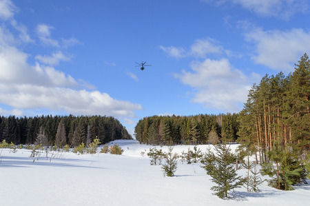 clearing: Large clearing in winter forest and a helicopter in the sky Stock Photo