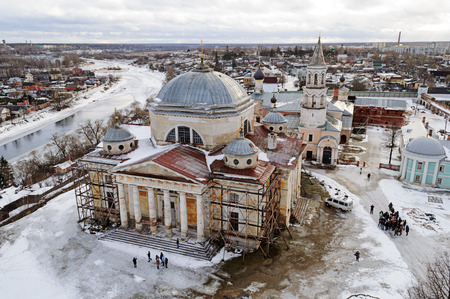 boris: Upper view of Boris and Gleb Monastery with cathedral in ancient russian town Torzhok, winter time Stock Photo