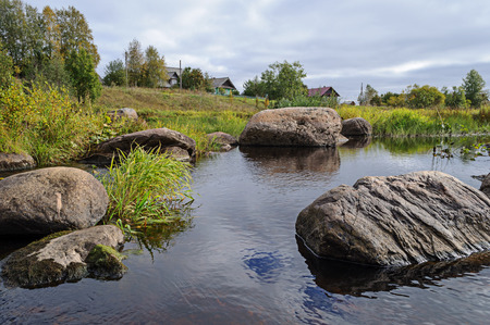 boulders: Large boulders in the Tihmanga river, North Russia