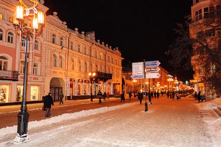 converted: NIZHNY NOVGOROD, RUSSIA - JANUARY 28, 2015: Converted Bolshaya Pokrovskaya Street with evening illumination on January 28, 2015 in Nizhny Novgorod, Russia Editorial