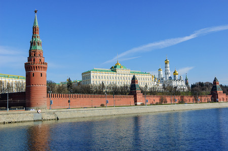 moskva river: Kremlin embankment, Moskva River and the Kremlins Wall with towers, Russia