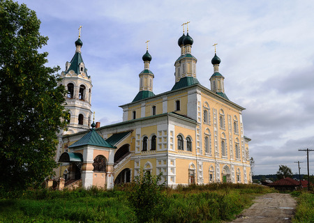 renovated: Renovated orthodox Cathedral of the Nativity (XVII - XIX) in Soligalich, Russia. Summer time Stock Photo