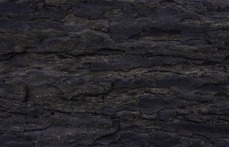 lithic: Texture of black rock at the seashore, polished by sea waves Stock Photo