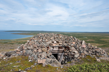 seacoast: Remains of a stone bunker from the Second World War on the seacoast of Rybachy peninsula near Murmansk, Russia