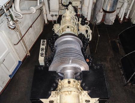 steam turbine: Murmansk, Russia, August 13, 2015. Steam turbine of the first Soviet nuclear-powered icebreaker Lenin during repair