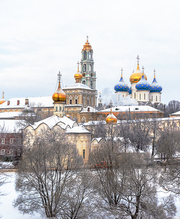 architectural heritage of the world: Architectural Ensemble of the Trinity Sergius Lavra in Sergiev Posad, Moscow district, Russia. Winter time. UNESCO World Heritage Site