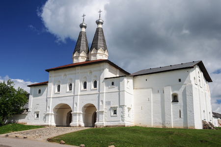 the medieval: Holy Gates of Ferapontov Monastery with the churches of the Epiphany and St. Ferapont, Russia