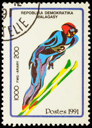 olympic games: MALAGASY - CIRCA 1991: stamp printed in Malagasy shows ski jumping, devoted to the Winter Olympic Games in Albertville, series, circa 1991