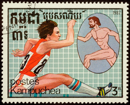 the olympic games: CAMBODIA - CIRCA 1987: stamp printed in Cambodia shows ancient and modern runner, devoted to the Olympic Games in Seoul, series, circa 1987 Editorial