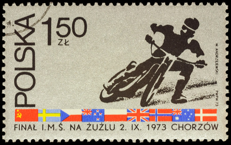 dirt track: MOSCOW, RUSSIA - JANUARY 29, 2016: A stamp printed in Poland shows motorcycle racer, devoted to the World Championship Dirt Track Racing in Chorzow, circa 1973