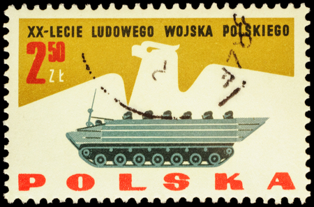 armoured: MOSCOW, RUSSIA - FEBRUARY 03, 2016: A stamp printed in Poland shows polish armoured vehicles, series The 20th Anniversary of the Polish Peoples Army, circa 1963 Editorial