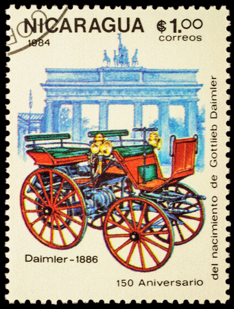daimler: MOSCOW, RUSSIA - FEBRUARY 06, 2016: A stamp printed in Nicaragua shows first car Daimler (1886), series The 150th Anniversary of the Birth of Gottlieb Daimler, 1834-1900 - Vintage Cars, circa 1984