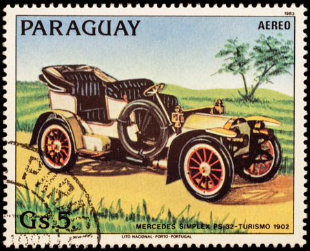 ps: MOSCOW, RUSSIA - FEBRUARY 08, 2016: A stamp printed in Paraguay shows old car Mercedes Simplex PS 32 (1902), series Old Automobiles, circa 1983