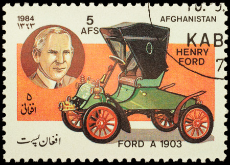 henry: MOSCOW, RUSSIA - FEBRUARY 05, 2016: A stamp printed in Afghanistan shows car Ford A (1903) and portrait of Henry Ford - company founder, series Classic Automobiles, circa 1984