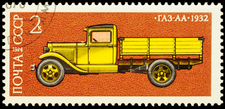 tk: MOSCOW, RUSSIA - FEBRUARY 04, 2016: A stamp printed in USSR (Russia) shows old soviet lorry GAS-AA (1932), series History of Soviet Motor Industry, circa 1974 Editorial