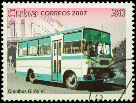 omnibus: MOSCOW, RUSSIA - FEBRUARY 10, 2016: A stamp printed in Cuba shows omnibus Giron VI, series Public Transport, circa 2007