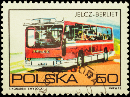 omnibus: MOSCOW, RUSSIA - FEBRUARY 10, 2016: A stamp printed in Poland shows bus Jelcz Berliet, series Polish Vehicles, circa 1973 Editorial