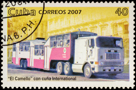 motorbus: MOSCOW, RUSSIA - FEBRUARY 10, 2016: A stamp printed in Cuba shows omnibus El Camello, series Public Transport, circa 2007