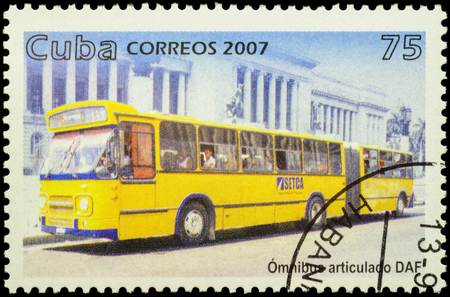 motorbus: MOSCOW, RUSSIA - FEBRUARY 10, 2016: A stamp printed in Cuba shows omnibus DAF, series Public Transport, circa 2007 Editorial