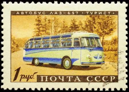 intercity: MOSCOW, RUSSIA - FEBRUARY 10, 2016: A stamp printed in USSR (Russia) shows old soviet intercity bus LAZ-697 Tourist (1959-1961), series USSR Motor Industry, circa 1960 Editorial