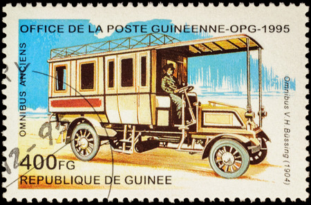 motorbus: MOSCOW, RUSSIA - FEBRUARY 10, 2016: A stamp printed in Guinee shows old omnibus Bussing (1904), series Veteran Omnibuses, circa 1995