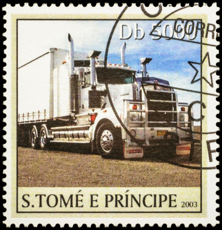 autotruck: MOSCOW, RUSSIA - FEBRUARY 12, 2016: A stamp printed in Sao Tome and Principe shows big truck on the road, series Trucks, circa 2003 Editorial
