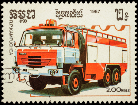 fire engine: MOSCOW, RUSSIA - FEBRUARY 12, 2016: A stamp printed in Cambodia shows Tatra fire engine, series Fire Engines, circa 1987 Editorial