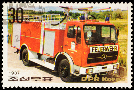 fire engine: MOSCOW, RUSSIA - FEBRUARY 12, 2016: A stamp printed in North Korea shows fire engine, series Fire Engines, circa 1987