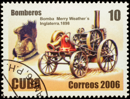post stamp: MOSCOW, RUSSIA - FEBRUARY 04, 2016: A stamp printed in Cuba shows old horse-drawn pump (1898), series Fire Fighting and Rescue Equipment, circa 2006 Editorial