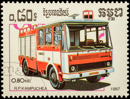 fire engine: MOSCOW, RUSSIA - FEBRUARY 12, 2016: A stamp printed in Cambodia shows fire engine, series Fire Engines, circa 1987 Editorial