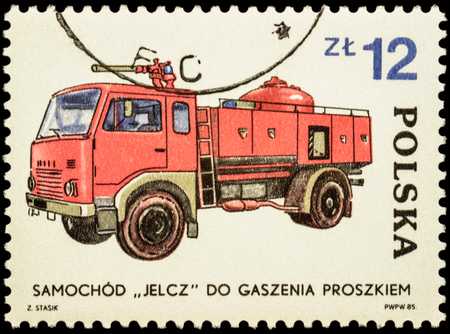 fire engine: MOSCOW, RUSSIA - FEBRUARY 12, 2016: A stamp printed in Poland shows polish fire engine Jelcz, series Development of the Fire Brigade, circa 1985