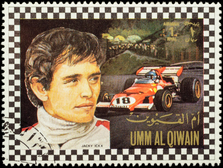 MOSCOW, RUSSIA - FEBRUARY 14, 2016: A stamp printed in Umm al-Quwain shows Jacques Bernard Jacky Ickx - Belgian racing driver in Formula One, series, circa 1972