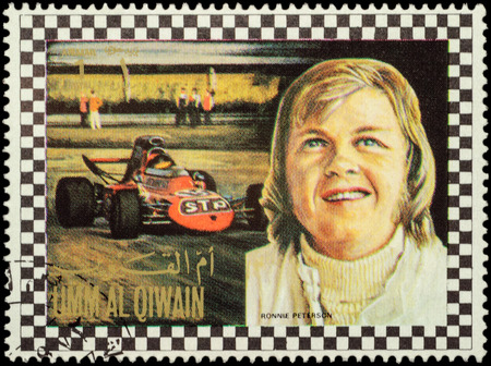 MOSCOW, RUSSIA - FEBRUARY 14, 2016: A stamp printed in Umm al-Quwain shows Bengt Ronnie Peterson, Swedish racing driver in Formula One, series, circa 1972 Editorial