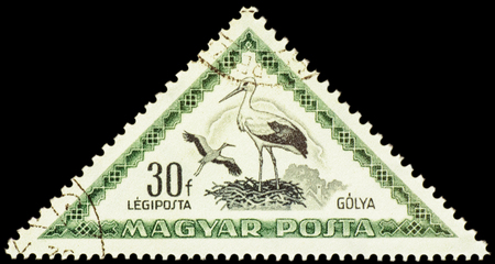 philatelic: MOSCOW, RUSSIA - FEBRUARY 29, 2016: A stamp printed in Hungary shows bird White Stork (Ciconia ciconia), series Birds, circa 1952 Editorial