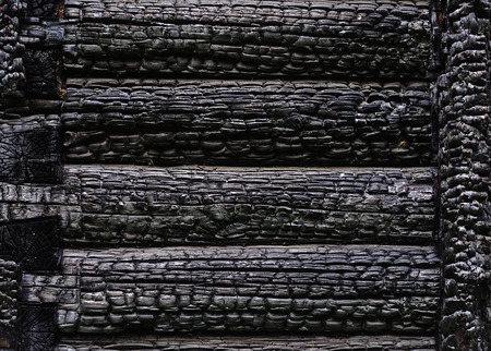 log wall: Fragment of  black burnt log wall, useful as background Stock Photo