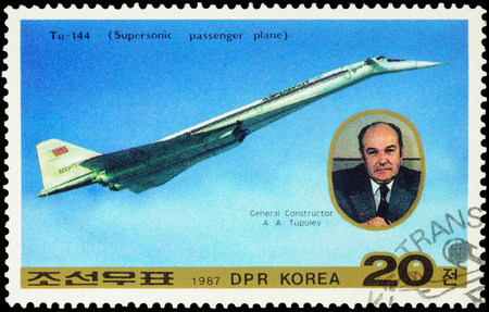supersonic transport: MOSCOW, RUSSIA - APRIL 11, 2016: A stamp printed in DPRK (North Korea) shows Russian supersonic passenger aircraft Tu-144 and portrait of Tupolev, series Transport, circa 1987