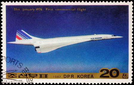 supersonic transport: MOSCOW, RUSSIA - APRIL 11, 2016: A stamp printed in DPRK (North Korea) shows supersonic passenger aircraft Concorde devoted to the first commercial flight in 1976, series Transport, circa 1987