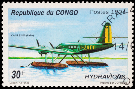 hydroplane: MOSCOW, RUSSIA - APRIL 12, 2016: A stamp printed in Congo shows Italian hydroplane CANT Z.505, series Seaplanes, circa 1994 Editorial