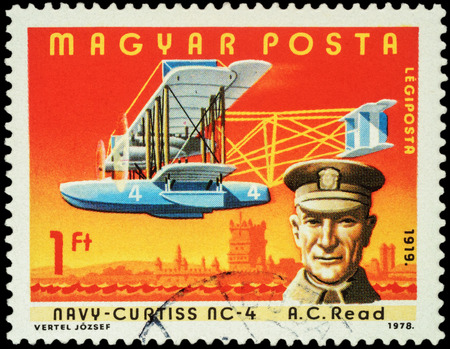 hydroplane: MOSCOW, RUSSIA - APRIL 12, 2016: A stamp printed in Hungary shows American pilot Albert Cushing Read with flying boat Navy-Curtiss NC-4, series Pilots and Aircrafts, circa 1978