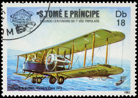 vickers: MOSCOW, RUSSIA - APRIL 14, 2016: A stamp printed in Sao Tome and Principe shows Vickers Vimy biplane during the first transatlantic flight (1919), series The 200th Anniversary of Aviation, circa 1983