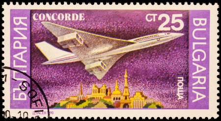 supersonic: MOSCOW, RUSSIA - APRIL 18, 2016: A stamp printed in Bulgaria shows supersonic passenger aircraft Concorde, series Airplanes, circa 1990 Editorial
