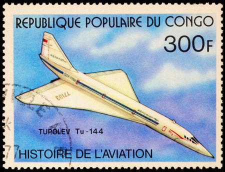 supersonic: MOSCOW, RUSSIA - APRIL 22, 2016: A stamp printed in Congo shows Russian supersonic passenger airliner Tupolev Tu-144, series Aviation History, circa 1977