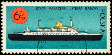 passenger ship: MOSCOW, RUSSIA - APRIL 25, 2016: A stamp printed in Poland shows passenger ship Stefan Batory, series Ships under the Polish Flag, circa 1971