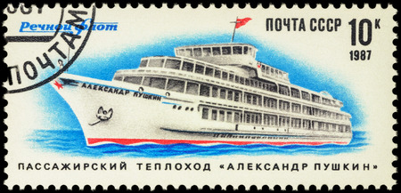 pushkin: MOSCOW, RUSSIA - APRIL 25, 2016: A stamp printed in USSR (Russia) shows Soviet passenger ship Aleksandr Pushkin, series Ships - River Fleet of the USSR, circa 1987 Editorial